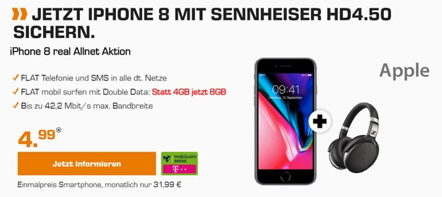 Top! iPhone 8 / 8 Plus + md real Allnet (Telekom)