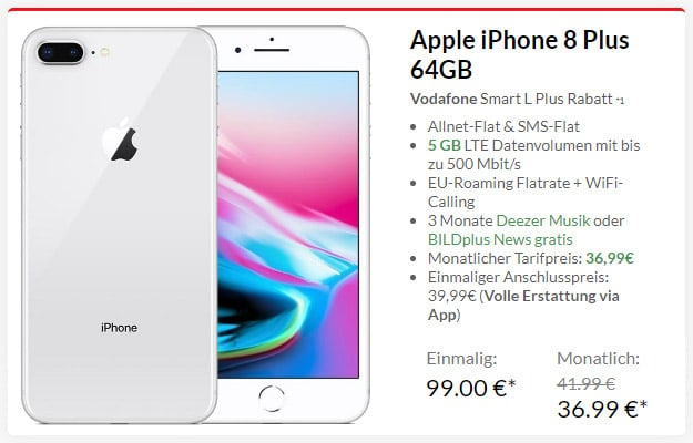 Apple iPhone 8 Plus + Vodafone Smart L Plus bei Preisboerse24