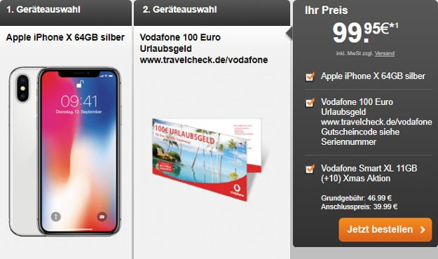 iPhone X + Reisegutschein + Vodafone Smart XL