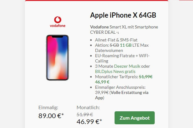 iphone x mit vodafone smart xl