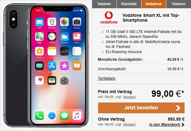 Apple iPhone X 64GB + Vodafone Smart XL bei LogiTel