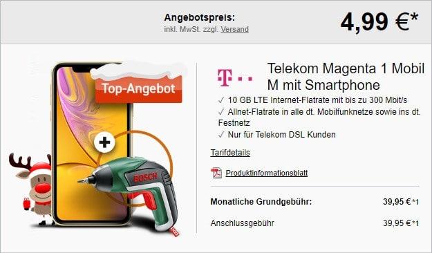 iPhone Xr + Bosch IXO Basic + Telekom Magenta Mobil M MagentaEINS bei LogiTel