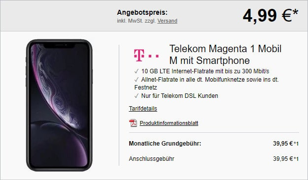 iPhone Xr + Telekom Magenta Mobil M MagentaEINS
