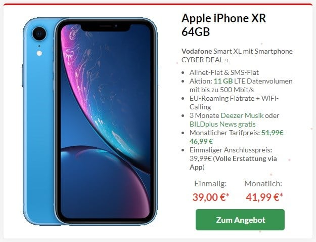 iPhone Xr 64GB + Vodafone Smart XL bei Preisboerse24