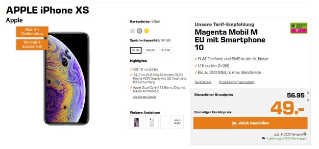 iPhone Xs 64GB + mobilcom-debitel Magenta Mobil M (Telekom)