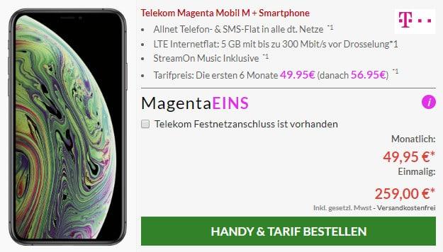 iphone xs + telekom magenta mobil m magenta