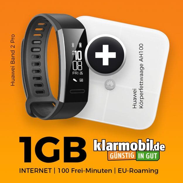 klarmobil Smartphone-Flat 1000 + Huawei Band 2 Pro +6 Huawei-Waage AH100