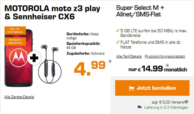 Motorola Moto Z3 Play + Sennheiser CX 6.00 BT + o2 Super Select M bei Saturn
