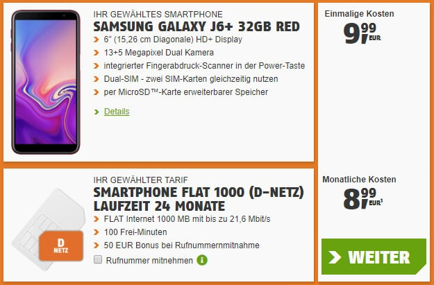 Samsung Galaxy J6 Plus + klarmobil Smartphone-Flat