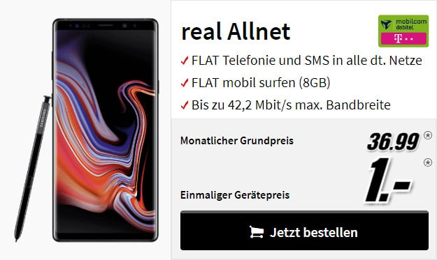 samsung galaxy note 9 + real allnet md telekom