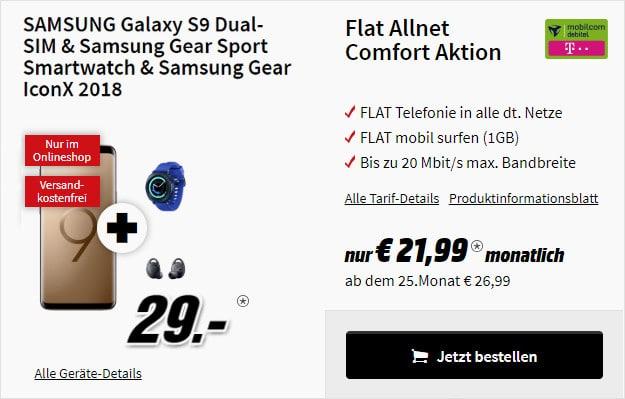 Samsung Galaxy S9 + Gear Sport + Gear IconX + Flat Allnet Comfort Telekom md