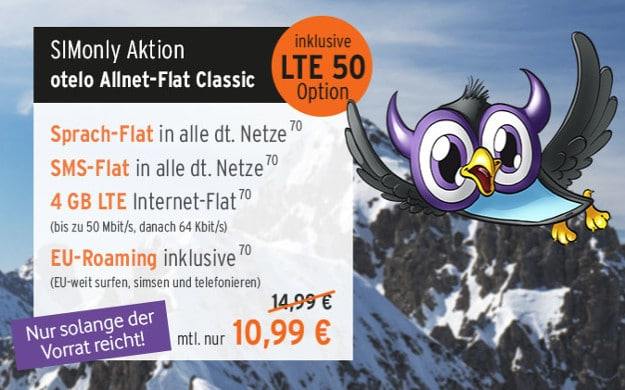 simonly allnet flat classic lte otelo