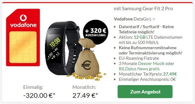 Vodafone DataGo L + 320 € Auszahlung + Samsung Gear Fit 2 Pro bei Preisboerse24