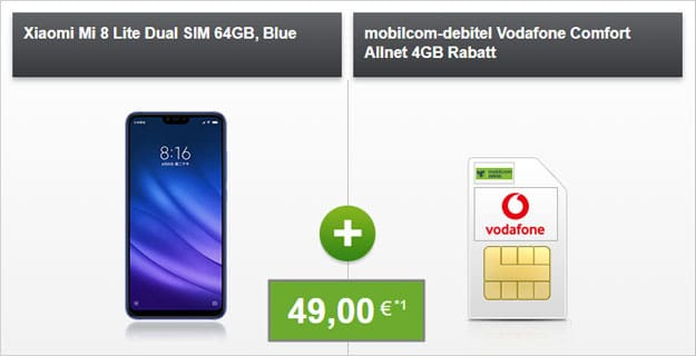 Xiaomi Mi 8 Lite + Vodafone Comfort Allnet (mobilcom-debitel ) bei Modeo