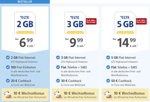1 1 Nano Sim Karte Bestellen Kosten.1 1 Web De All Net Flat Ab 6 99 Allnet Flat 2 Bis 5 Gb Lte