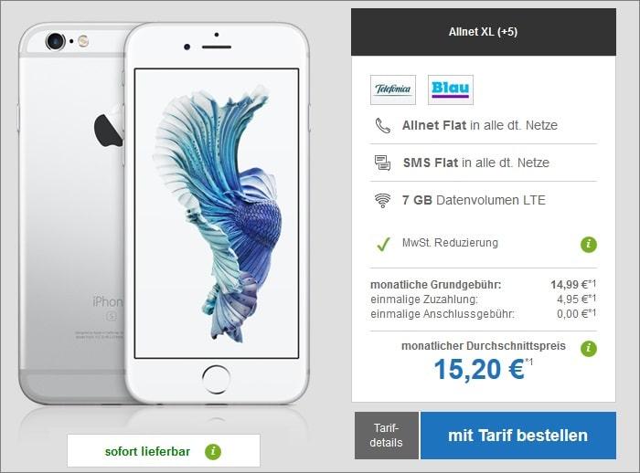 Apple iPhone 6s als B-Ware mit Blau Allnet XL bei modeo
