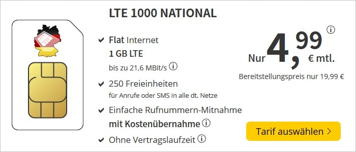 DeutschlandSIM LTE 1000 National