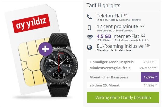 Ay Yildiz Ay Allnet Flat + Samsung Gear S3 Frontier bei FLYmobile