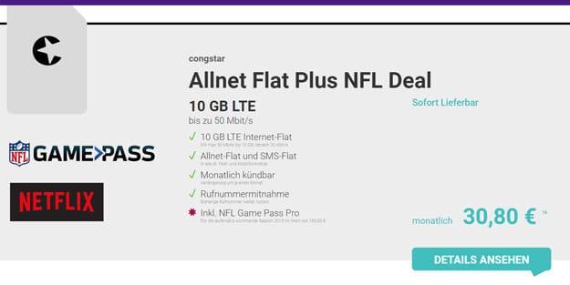 congstar Allnet Flat / Allnet Flat Plus ab 20 € mtl. (Allnet- & SMS-Flat, 4 bis 10 GB, 5 € für LTE, Telekom-Netz) - ohne Laufzeit & 100 € Bonus!