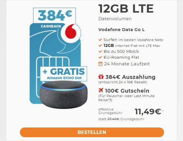 datago l vodafone + cashback + amazon echo dot
