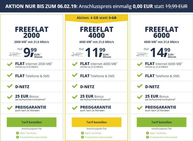 freeFLAT Tarife ohne Anschlussgebühr