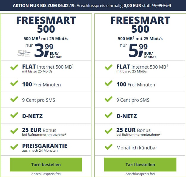 freeSMART 500 ohne Anschlussgebühr
