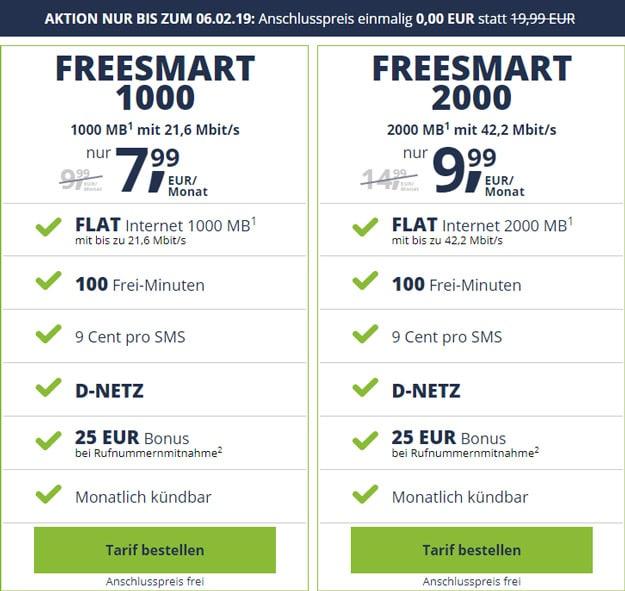 freeSMART ohne Anschlussgebühr