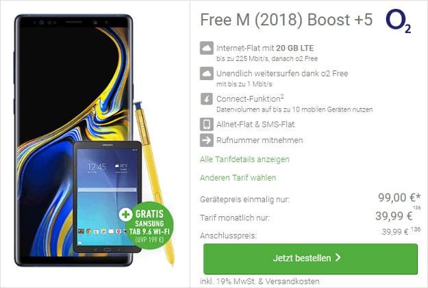 Samsung Galaxy Note 9 + Samsung Galaxy Tab E 9.6 WiFi + o2 Free M Boost bei DeinHandy