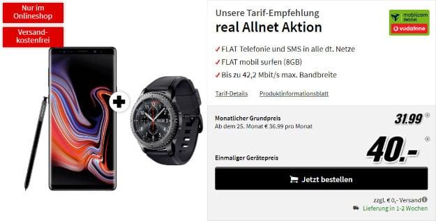 Samsung Galaxy Note 9 + Samsung Gear S3 Frontier + Vodafone real Allnet (mobilcom-debitel) bei MediaMarkt