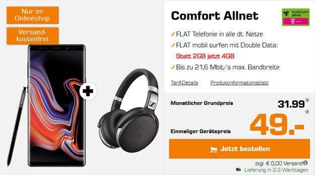 Samsung Galaxy Note 9 + Sennheiser HD 4.50 BTNC + mobilcom-debitel Comfort Allnet (Telekom-Netz) bei Saturn