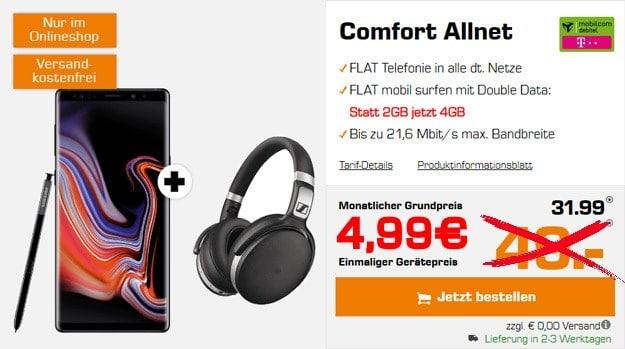 Samsung Galaxy Note 9 + mobilcom-debitel Comfort Allnet (Telekom-Netz) bei Saturn