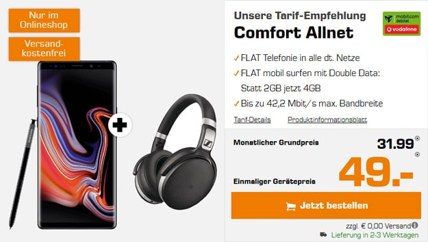 Samsung Galaxy Note 9 + Sennheiser HD 4.50 BTNC + Vodafone Comfort Allnet (mobilcom-debitel) bei Saturn