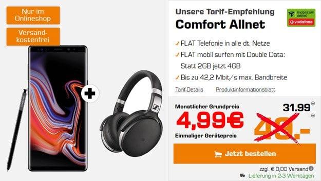 Samsung Galaxy Note 9 + Vodafone Comfort Allnet (mobilcom-debitel) bei Saturn