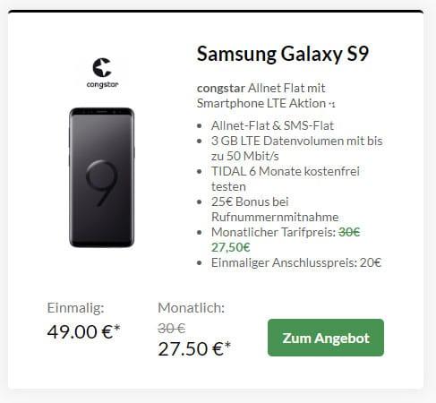 Samsung Galaxy S9 + congstar Allnet Flat Speed ab eff. 7,50 € mtl. (Allnet- & SMS-Flat, 3 GB LTE, Telekom-Netz)