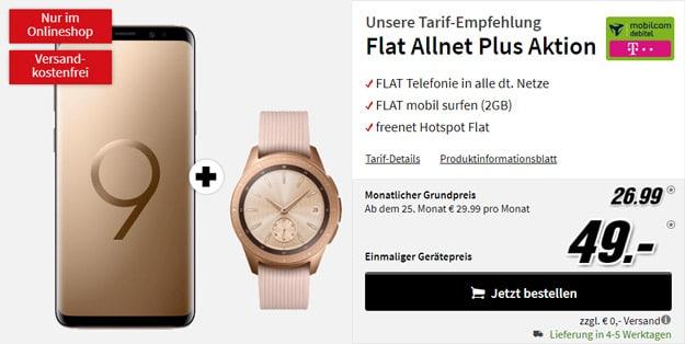 Samsung Galaxy S9 + Samsung Galaxy Watch LTE (Telekom, 42mm) + mobilcom-debitel Flat Allnet Plus (Telekom-Netz) bei MediaMarkt