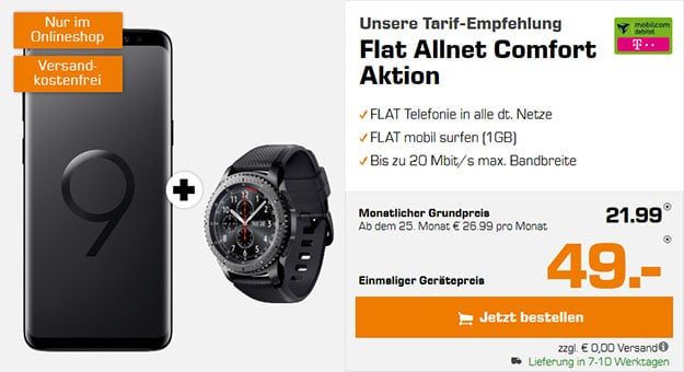 Samsung Galaxy S9 + Samsung Gear S3 Frontier + mobilcom-debitel Flat Allnet Plus (Telekom) bei Saturn