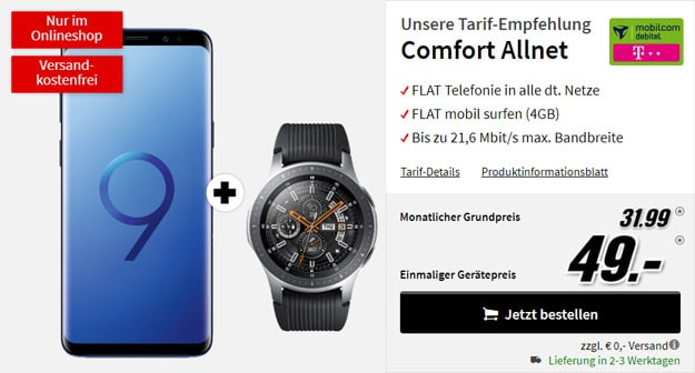 Samsung Galaxy S9 Plus + Samsung Galaxy Watch LTE (46mm, Telekom, Silber) bei MediaMarkt