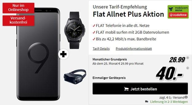 Samsung Galaxy S9 Plus + Samsung Galaxy Watch LTE (42mm, Vodafone) + Samsung Gear VR + Vodafone Flat Allnet Comfort (mobilcom-debitel) bei MediaMarkt