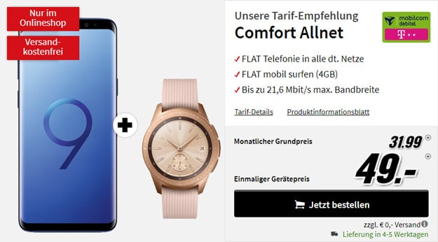 Samsung Galaxy S9 Plus + Samsung Galaxy Watch LTE (42mm, Telekom) + mobilcom-debitel Comfort Allnet (Telekom-Netz) bei MediaMarkt