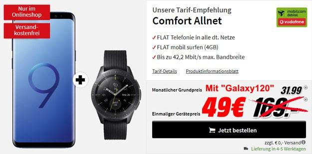 Samsung Galaxy S9 Plus + Samsung Galaxy Watch LTE (42mm, Vodafone) + Vodafone Comfort Allnet (mobilcom-debitel) bei MediaMarkt