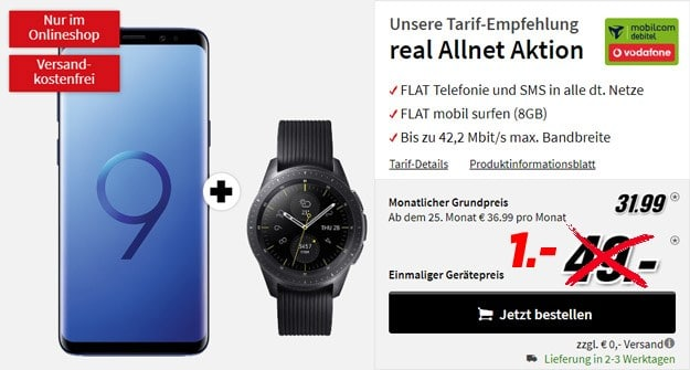 Samsung Galaxy S9 Plus + Samsung Galaxy Watch LTE (42mm, Vodafone) + Vodafone real Allnet (mobilcom-debitel) bei MediaMarkt