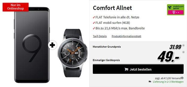 Samsung Galaxy S9 Plus + Samsung Galaxy Watch 46mm + mobilcom-debitel Comfort Allnet (Telekom-Netz) bei MediaMarkt