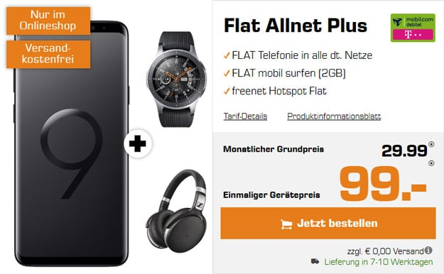Samsung Galaxy S9 Plus + Samsung Galaxy Watch (46mm) + Sennheiser HD 4.50 BTNC + mobilcom-debitel Flat Allnet Comfort (Telekom-Netz) bei Saturn