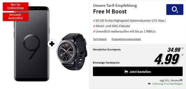 Samsung Galaxy S9 Plus +6 Samsung Gear S3 Frontier + o2 Free M Boost bei MediaMarkt