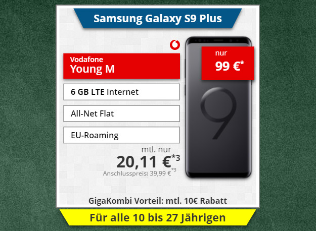 Samsung Galaxy S9 Plus + Vodafone Young M GigaKombi bei Tophandy
