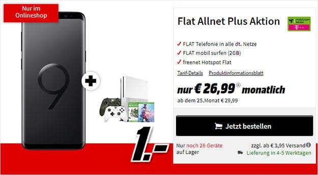 Samsung Galaxy S9 + Xbox One S Sparket + mobilcom-debitel Flat Allnet Plus (Telekom-Netz) bei MediaMarkt