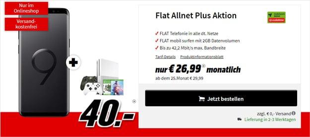 Samsung Galaxy S9 Plus + Xbox One S Sparket + Vodafone Flat Allnet Comfort (mobilcom-debitel) bei MediaMarkt