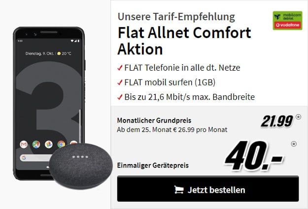 google pixel 3 + google home mini + vodafone flat allnet comfort md