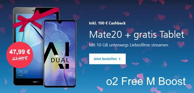 Huawei Mate 20 + Huawei MediaPad T5 10 LTE + o2 Free M Boost bei o2 Online