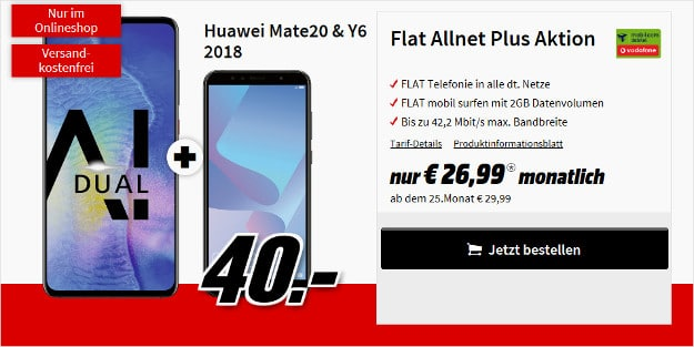 huawei mate 20 + huawei y6 + flat allnet comfort vodaofne